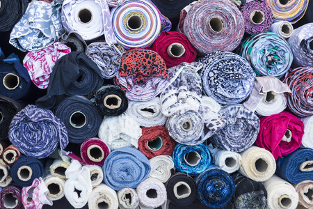 els: Rolls of cloth for sale in the most famous flea market in Barcelona, also known as Els Encants or Els Encants Vells, located in Glories neighborhood   Stock Photo