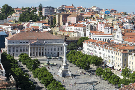 Overview D. Pedro IV Square and the Theater D. Maria II in the background along with other buildings