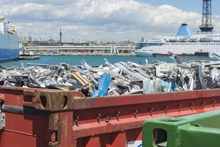 container of scrap metal waiting to board at the port of Barcelona, Catalonia, Spain Standard-Bild
