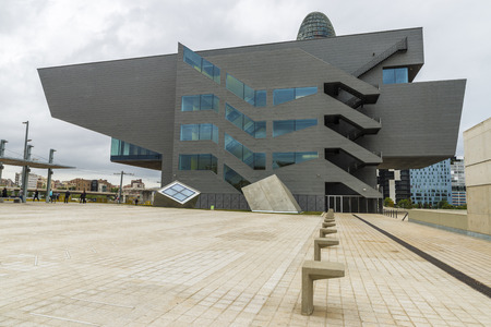 Barcelona, Spain - May 12, 2014: the new Dhub (Design hub) building, designed by MBM Architects and completed in february 2013. The Design Hub Barcelona Building (DHUB, Disseny Hub in catalan) is a new culture center created by the city hall to promote d
