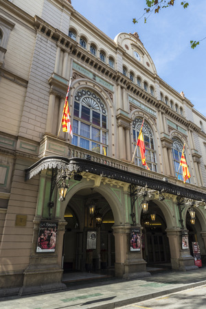 ramblas: Barcelona, Spain - October 17, 2014: The Gran Teatre del Liceu, popularly known simply as the Liceu opera house is located on the Ramblas of Barcelona. It opened on April 4, 1847 View of the Teatre del Liceu in Barcelona, Spain. Editorial