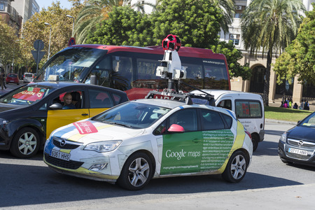 Barcelona, Spain - October 22, 2014: A Google Street View vehicle used for mapping streets throughout the world drives through the town center of Barcelona, Catalonia, Spain.