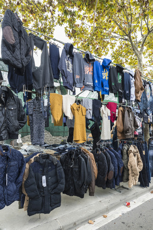fetish wear: Badalona, Spain - November 1, 2014: Stall clothes in the market Turo Caritg in Badalona, a town next to Barcelona.