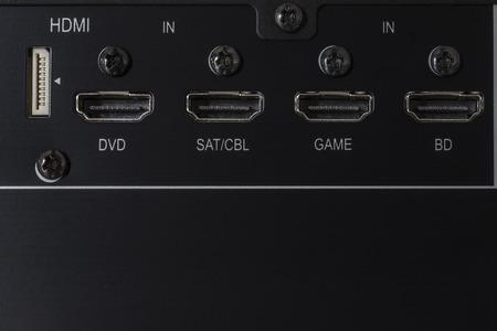 hdmi: Closeup of hdmi inputs of an amplifier