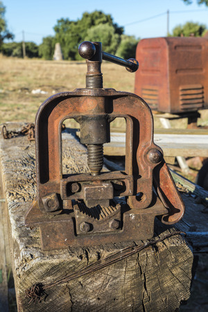 toolroom: Abandoned old machine on a farm in Portugal Stock Photo
