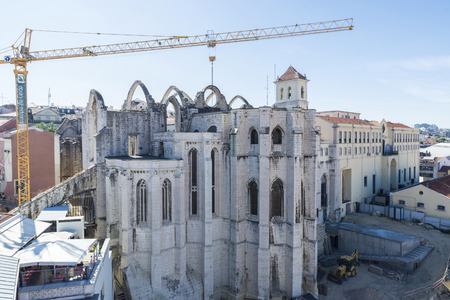 restauration: Lisbon, Portugal -  August 18, 2014: Restoration work at the Convento do Carmo in Lisbon, Portugal
