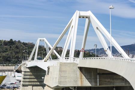 drawbridge: drawbridge called porta Europa over the port of Barcelona, Catalonia, Spain