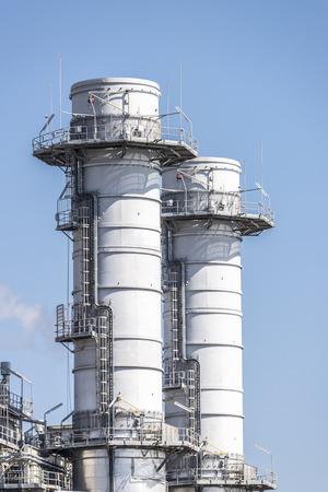 incinerator: Chimneys of an incinerator in Barcelona, Catalonia, Spain