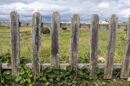 hobnail: Old wooden fence in a field in Spain on a cloudy day Stock Photo