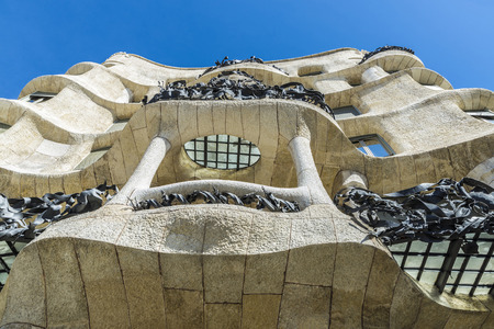 modernist: View of Casa Mila, better known as La Pedrera, designed by Antoni Gaudi. It is the best exponent in modernist architecture.