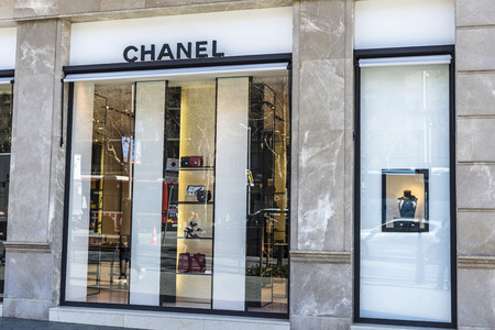 Barcelona, Spain - March 27, 2015: Chanel Boutique store located on Passeig de Gracia, one of the most expensive streets in Europe.