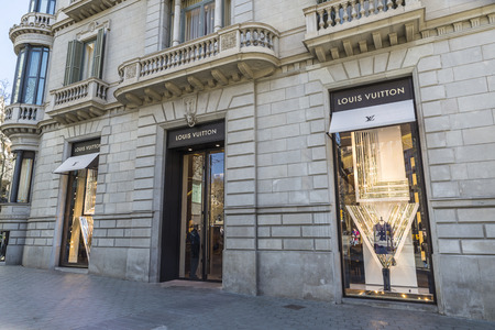Barcelona, Spain - March 27, 2015: Louis Vuitton shop located on Passeig de Gracia, one of the most expensive streets in Europe.