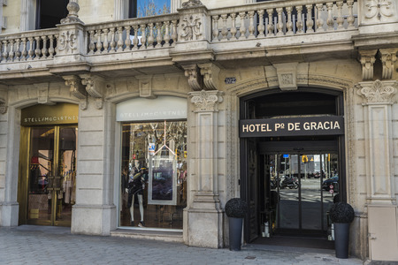 Barcelona, Spain - March 27, 2015: Stella mc Cartney shop located on Passeig de Gracia, one of the most expensive streets in Europe.