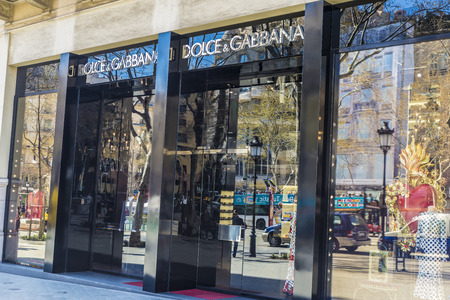 Barcelona, Spain - March 27, 2015: Dolce and Gabbana shop located on Passeig de Gracia, one of the most expensive streets in Europe.