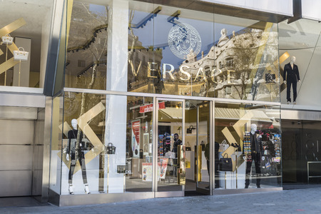 Barcelona, Spain - March 27, 2015: Versace shop located on Passeig de Gracia, one of the most expensive streets in Europe.