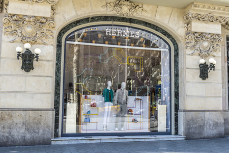Barcelona, Spain - March 27, 2015: Hermes shop located on Passeig de Gracia, one of the most expensive streets in Europe.