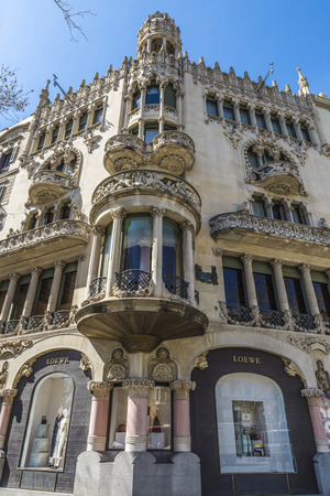 Barcelona, Spain - March 27, 2015: Loewe shop located on Passeig de Gracia, one of the most expensive streets in Europe.