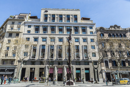 Barcelona, Spain - March 27, 2015: Mandarin Oriental Hotel located on Passeig de Gracia, one of the most expensive streets in Europe. It is one of the most exclusive hotels in the city