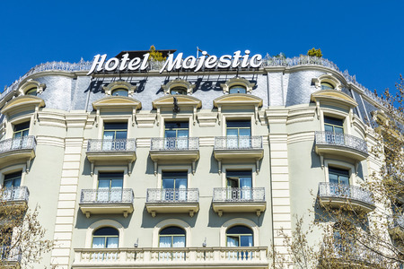 upper class: Barcelona, Spain - March 27, 2015: Majestic Hotel located on Passeig de Gracia, one of the most expensive streets in Europe. It is one of the most exclusive hotels in the city