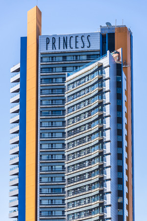 Barcelona, Spain - April 9, 2015: Princess Hotel facade located in Diagonal Mar. This hotel has the highest pool in the city