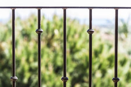Closeup of black metal railing Archivio Fotografico