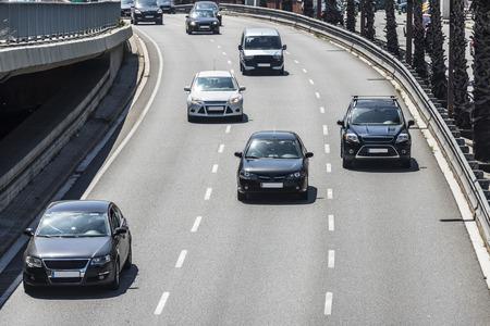Crossing rapid urban roads in Barcelona, Catalonia, Spain Stock fotó