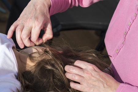 piojos: Madre busca de piojos de la cabeza a su pequeña hija a la luz solar