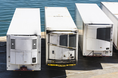 freezer: Reefer containers waiting to board at the port of Barcelona, Catalonia, Spain
