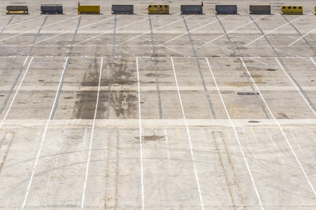 loading dock: Empty parking at the loading dock of the port of Barcelona, Catalonia, Spain