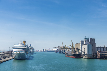 loading dock: Barcelona, Spain - May 2, 2015: Cruise terminal and loading dock in Barcelona, Catalonia, Spain