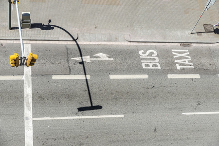 discontinuous: Aerial view of a reserved lane for bus and taxi Stock Photo