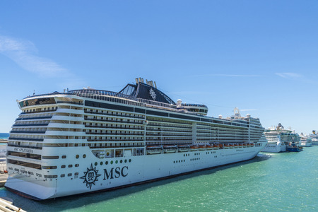 pleasure ship: Barcelona, Spain - May 23, 2014: Several cruise ships docked at the cruise terminal in Barcelona, Catalonia, Spain Editorial