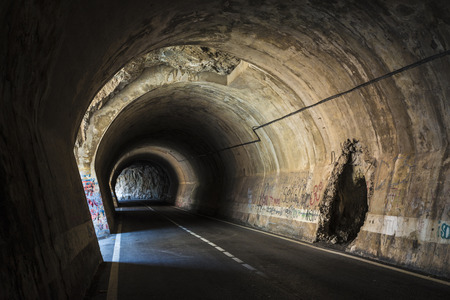 enters: Old tunnel with galleries through which light enters in Spain