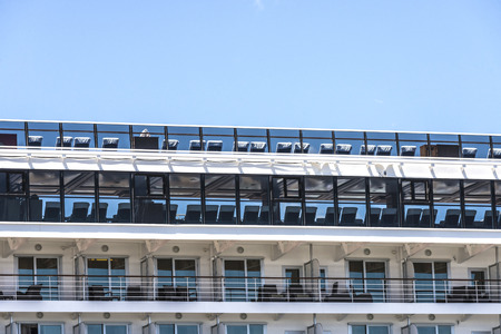 stateroom: Cabin balconies of a modern cruise ship in port of Barcelona, Catalonia, Spain