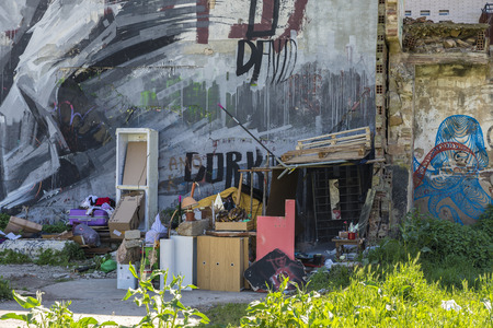 barrack: Barcelona, Spain - April 9, 2015: Wall covered with graffiti beside a barrack