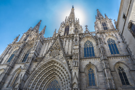 Barcelona Cathedral is dedicated to the Holy Cross and Saint Eulalia, patron saint of Barcelona in Catalonia, Spain