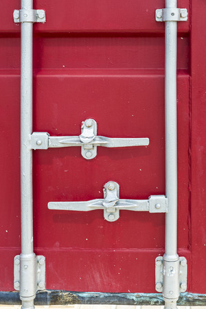hermetic: Closeup of a red cargo container