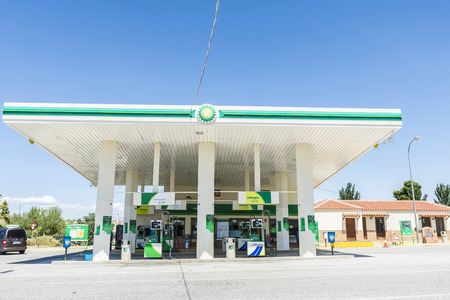 convenience store: Granada, Spain - August 18, 2015: BP gas station and Convenience Store Editorial