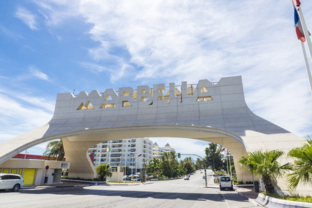 entrance sign: Marbella entrance sign, Spain. This iconic entrance sign welcomes visitors to Marbella, the famous city of Costa del Sol Editorial
