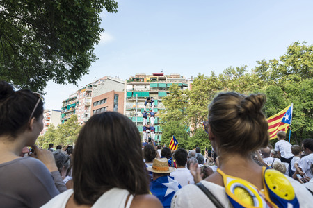 demanding: Barcelona, Spain - September 11, 2015: People at rally demanding independence for Catalonia (National Day of Catalonia).