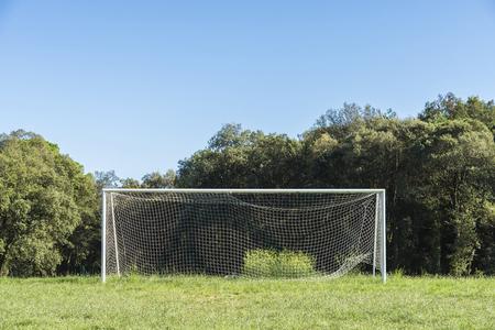 goalline: Old empty goal in the countryside in Spain