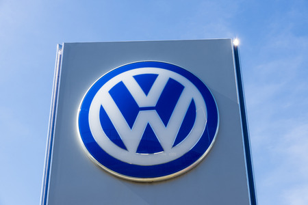 automaker: Barcelona, Spain - October 10, 2015: Volkswagen sign against clear blue sky. This company is the largest German automaker Editorial