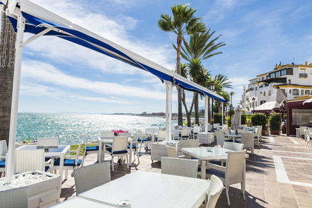 spain: Bar where you can drink watching the sea in Puerto Banus, Marbella, Spain