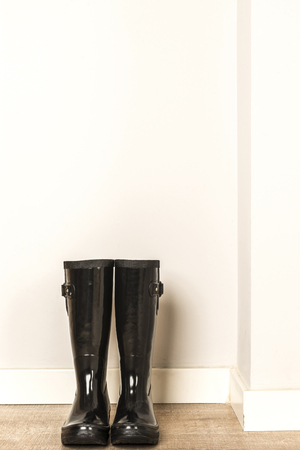 wellies: Black wellies ready for use in a rainy day