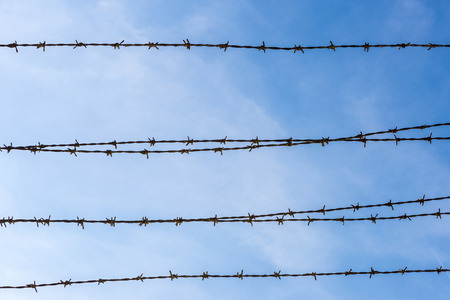 barbed wire: Barbed wire against the sky Stock Photo