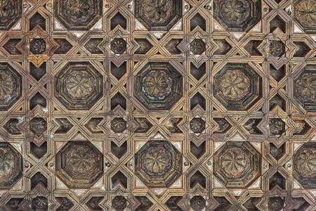 ceiling texture: Wooden ceiling decorated with geometric shapes in the Alhambra, Andalusia, Spain Stock Photo