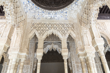 poems: Granada, Spain - August 11, 2015: Walls and ceilings decorated with geometric shapes and epigraphic poems in the Alhambra, Andalusia, Spain Editorial