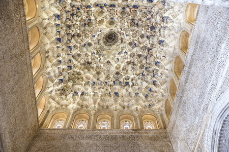 poems: Walls and ceilings decorated with geometric shapes and epigraphic poems in the Alhambra, Andalusia, Spain