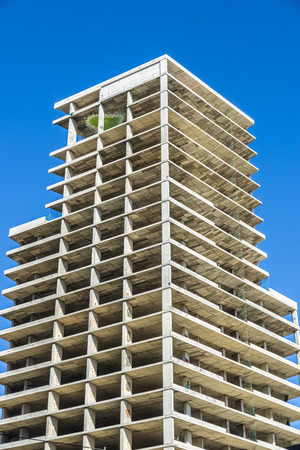 office buildings: Construction of a skyscraper housing and offices in Barcelona, Catalonia, Spain