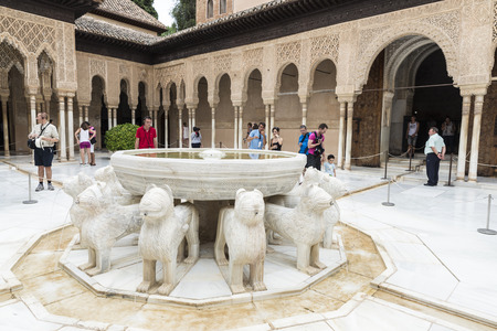 Granada, Spain - August 11, 2015: The Court of the Lions, a unique example of Muslim art, within the fortress and palace of the Alhambra in Granada, Andalusia. Redakční